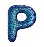 Голубое пластичное письмо p с абстрактными отверстиями 3d Стоковые Изображения