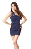 голубое платье брюнет представляя детенышей женщины Стоковые Фото