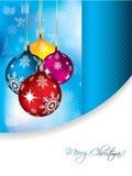 голубое приветствие рождества карточки иллюстрация штока