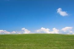 голубое пустое зеленое небо лужка Стоковое фото RF