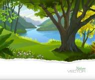 Голубое река бежать через зеленый лес бесплатная иллюстрация