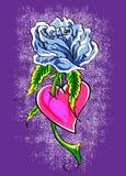 голубое сердце подняло Стоковое Изображение
