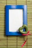голубое сердце рамки деревянное Стоковое фото RF