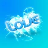 голубое слово влюбленности иллюстрации 3d Стоковая Фотография RF