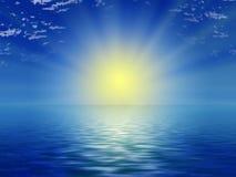 голубое солнце неба океана иллюстрация штока
