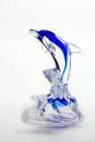 голубое стекло figurine dolpin Стоковые Фотографии RF