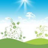 голубое флористическое зеленое небо бесплатная иллюстрация