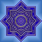 голубое яркое затейливое мандала Стоковое фото RF