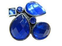 голубое яркое кольцо ювелирных изделий кристаллов Стоковое Изображение