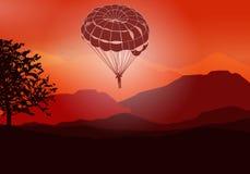 голубое ясное небо парашюта летания стоковое изображение