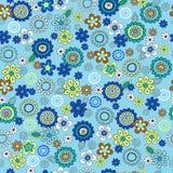 голубое ditsy повторение картины цветков безшовное иллюстрация вектора