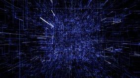 Голубой абстрактный виртуальный космос летание иллюстрации 3d через тоннель цифровых данных иллюстрация штока