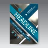 Голубой абстрактный квадратный вектор шаблона дизайна брошюры годового отчета Плакат кассеты рогулек дела infographic Аннотация Стоковое Изображение
