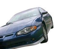 голубой автомобиль над спортами белыми стоковое изображение rf