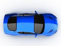 голубой автомобиль резвится взгляд сверху Стоковое Изображение RF