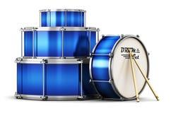 Голубой барабанчик установленный с drumsticks иллюстрация вектора