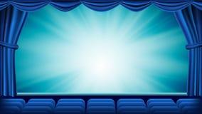 Голубой вектор занавеса театра Театр, опера или этап кино пустой Silk, красная сцена background card congratulation invitation Зн Стоковые Изображения RF