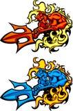 голубой вектор талисмана логосов дьявола демона иллюстрация вектора