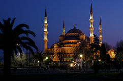 голубой взгляд sultanahmet ночи мечети Стоковая Фотография