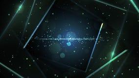 Голубой виртуальный абстрактный тоннель космоса предпосылки с неоновой линией светами иллюстрация штока