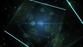 Голубой виртуальный абстрактный тоннель космоса предпосылки с неоновой линией светами бесплатная иллюстрация