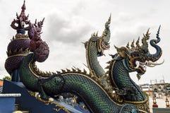 Голубой висок или Wat Rong Suea 10 Chiang Rai расположены на Стоковое Изображение