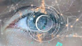 Голубой глаз и цифровые символы иллюстрация вектора