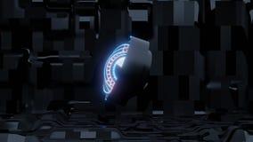 Голубой глаз scifi с предпосылкой и оранжевыми светами корабля чужеземца иллюстрация штока