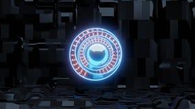 Голубой глаз scifi с предпосылкой и оранжевыми светами корабля чужеземца иллюстрация вектора