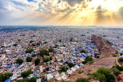 Голубой город Джодхпура от форта Mehrangarh Стоковая Фотография