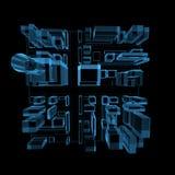 голубой город накаляя прозрачна Стоковое Изображение