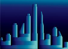 голубой город 3D вечером бесплатная иллюстрация