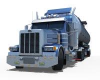 Голубой грузовик с круглым танком металла раздела стоковые фотографии rf
