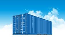 Голубой грузовой контейнер доставки для снабжения и транспорта иллюстрация вектора