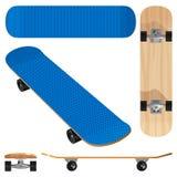 Голубой деревянный скейтборд Стоковое Изображение RF