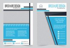 Голубой дизайн рогульки шаблона брошюры Стоковая Фотография