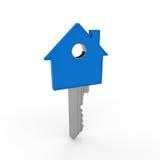 голубой домашний ключ 3d Стоковое Изображение