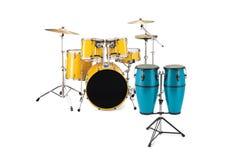голубой желтый цвет барабанчиков congas Стоковое Изображение