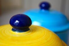 голубой желтый цвет опарников Стоковые Фотографии RF