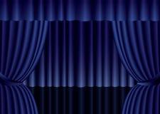 Голубой занавес театра Стоковое Фото