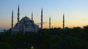 голубой заход солнца мечети видеоматериал