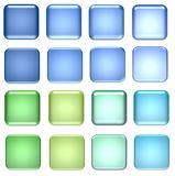 голубой зеленый цвет стекла кнопок Стоковые Изображения