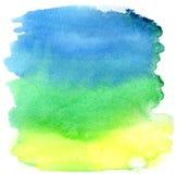 голубой зеленый цвет щетки штрихует желтый цвет акварели Стоковое Изображение RF