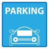 Голубой знак автостоянки изолированный на белой предпосылке Знак и символы Стоковая Фотография