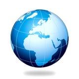 голубой интернет глобуса европы земли Иллюстрация вектора