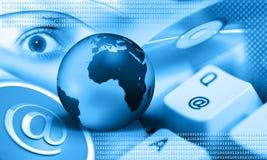 голубой интернет земли Стоковые Изображения