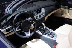 голубой интерьер автомобиля bmw стоковая фотография