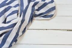 Голубой и белый конспект ткани таблицы Стоковая Фотография RF