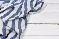 Голубой и белый конспект ткани таблицы Стоковая Фотография