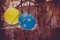 Голубой и желтый воздушный шар Стоковое Изображение